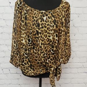EXPRESS animal print semi sheer tie front top